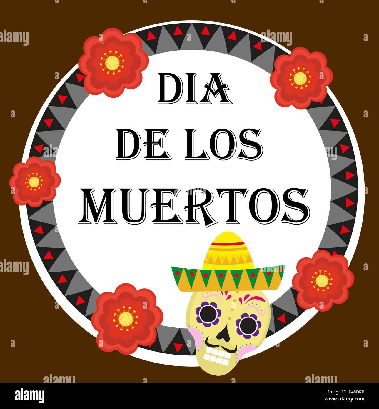 Le Jour des morts Mexican holiday Greeting card, affiche, flyer. Dia de los muertos modèle pour votre conception. Illustration de Vecteur