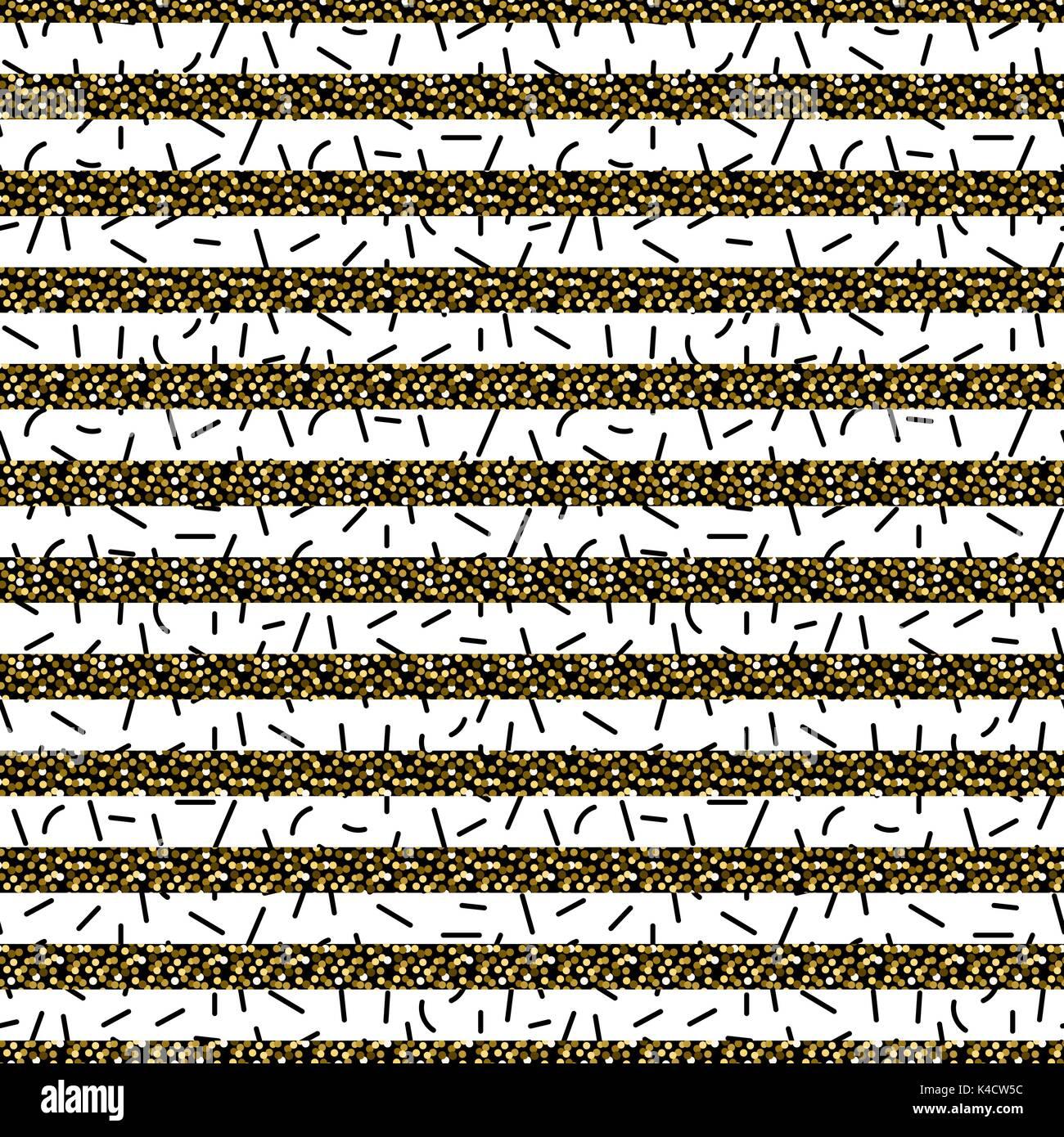 Glitter stripes et particules fines noir motif transparent. Photo Stock