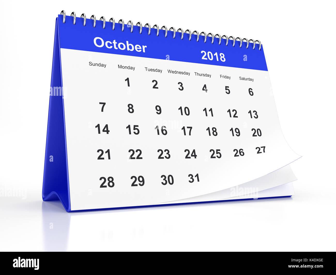 Octobre 2018 page d 39 un calendrier de bureau encadr es en plastique bleu sur fond blanc le rendu - Calendrier sur le bureau ...