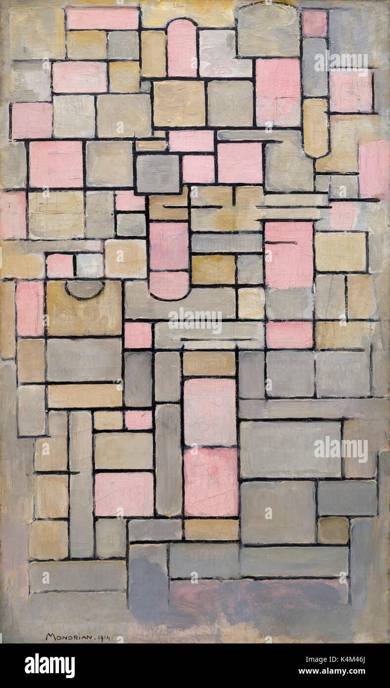 Composition 8, par Piet Mondrian, 1914, Solomon R. Guggenheim Museum, Manhattan, New York City, USA, Amérique du Nord Photo Stock