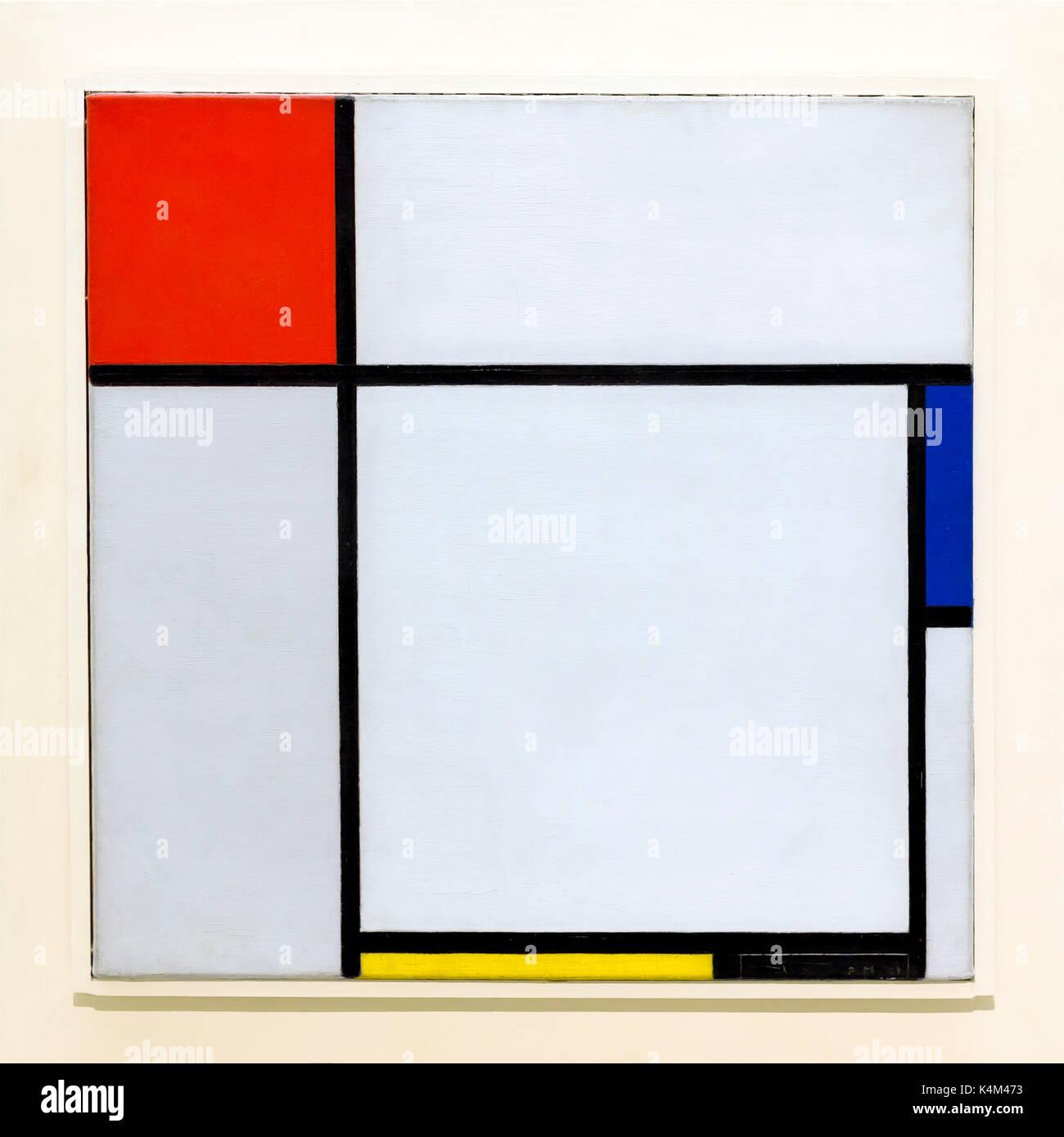 La composition, par Piet Mondrian, 1929, Solomon R. Guggenheim Museum, Manhattan, New York City, USA, Amérique du Nord Photo Stock