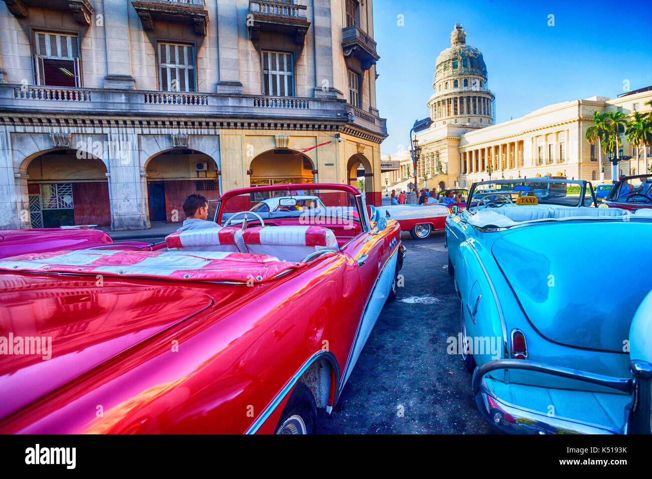 Vieille voiture, La Havane, Cuba Photo Stock