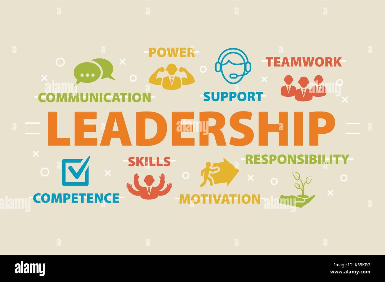 Le leadership. concept avec icônes. Photo Stock