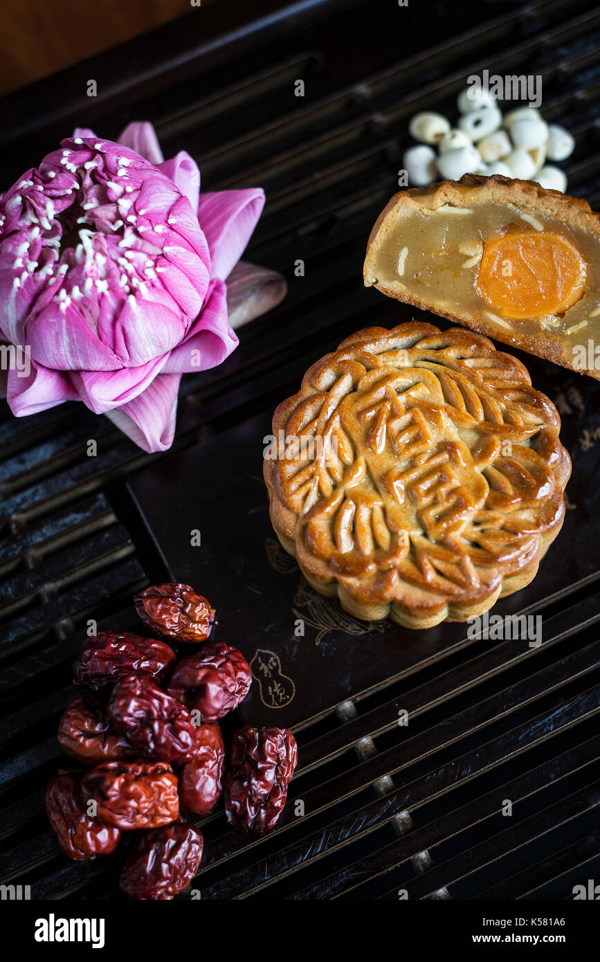 Fête traditionnelle chinoise gourmet dessert pâtisserie mooncake Photo Stock