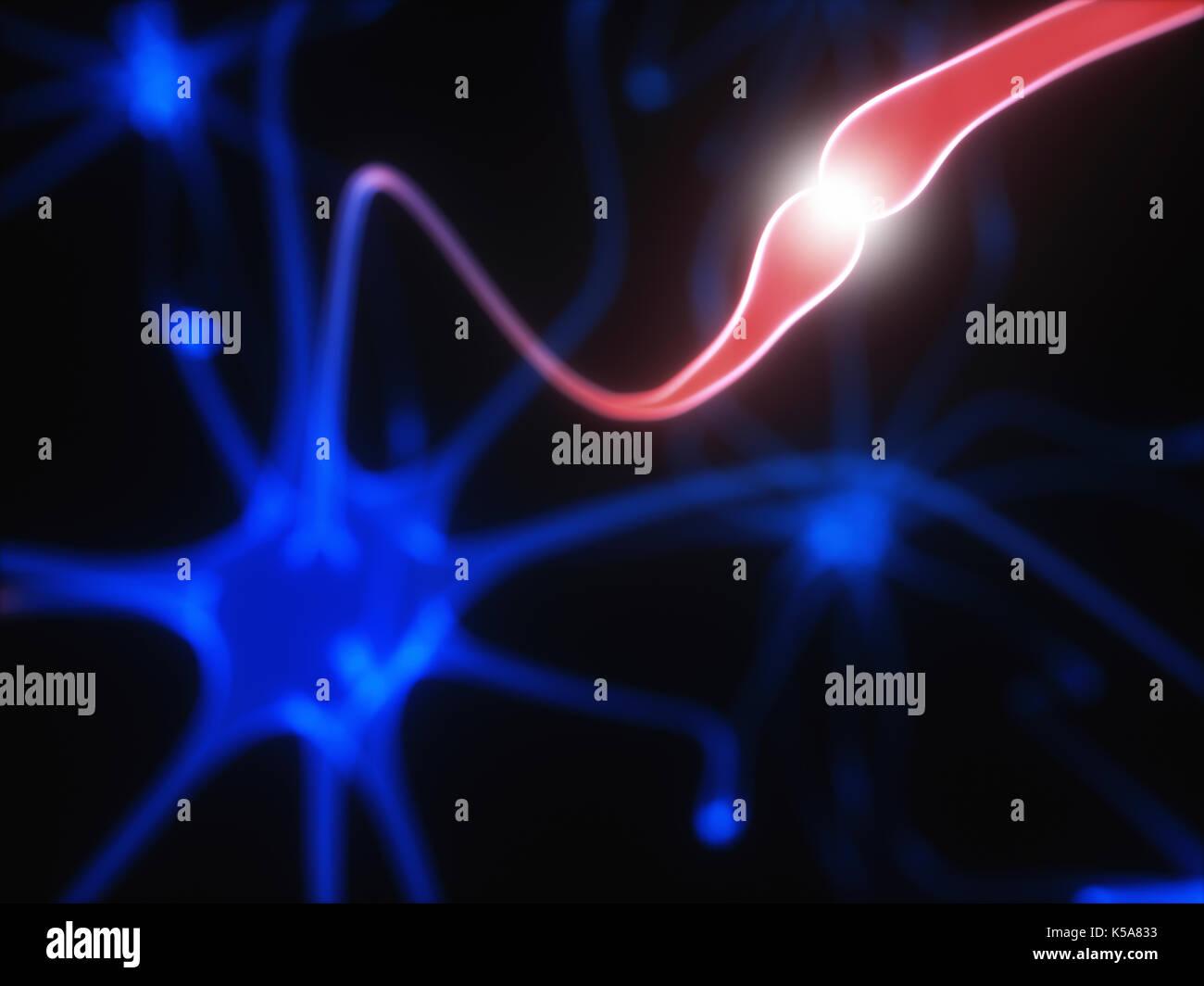 Les cellules nerveuses et des impulsions électriques, de l'illustration. Photo Stock