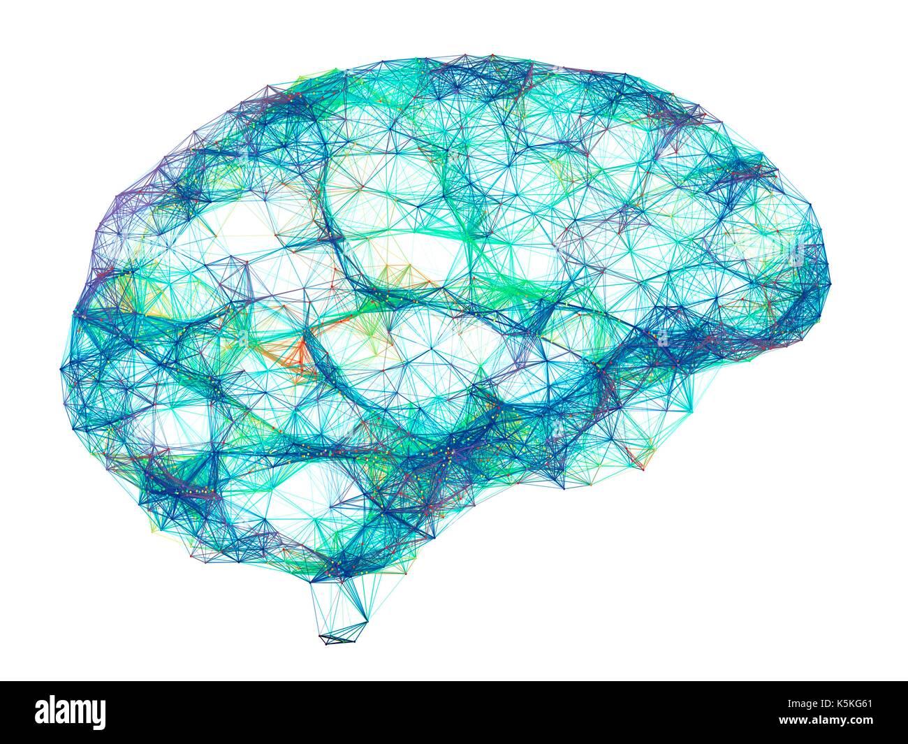 Réseau de neurones. L'oeuvre de l'ordinateur du réseau de neurones du cerveau représenté par lignes et points. Un réseau de neurones est constitué de cellules nerveuses (neurones). Photo Stock