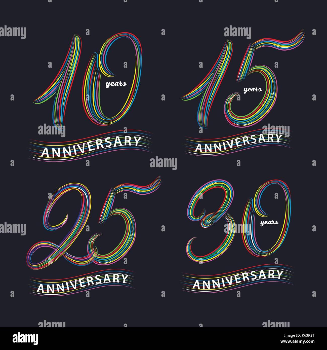 Impression Anniversaire 10 Ans Ensemble De 10 15 25 30 Ans Ecrit A La Main Les Numeros