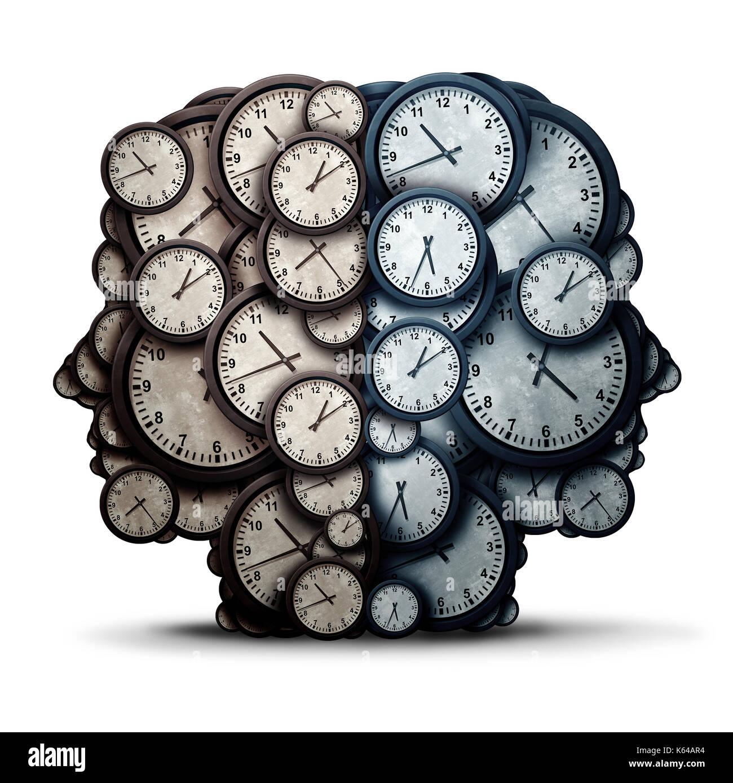 Temps de réflexion réunion concept comme un groupe d'objets de l'horloge en forme de deux têtes humaines en tant qu'entreprise la ponctualité et la nomination de la coopération. Photo Stock
