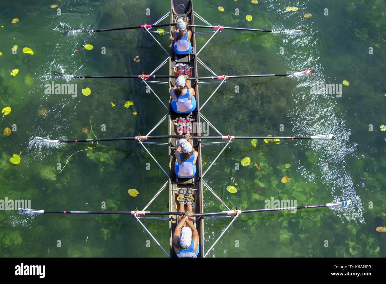 L'équipe d'aviron de mesdames fours dans la course sur le lac Photo Stock