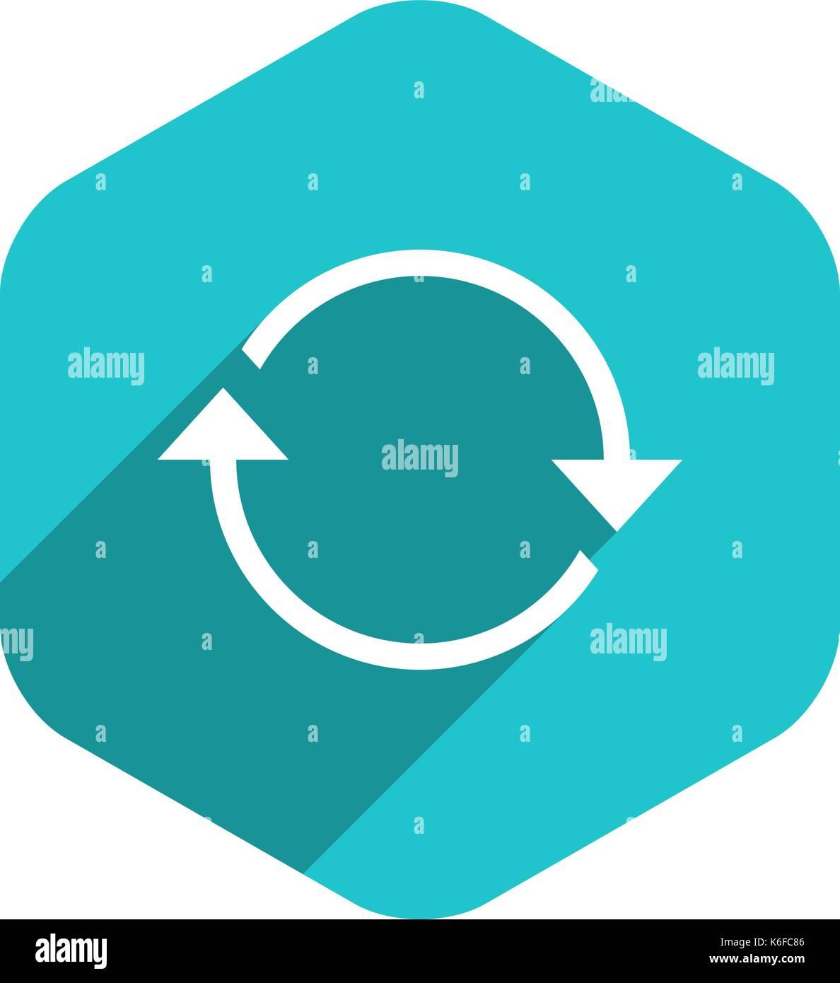 L'utiliser dans tous vos projets. panneau de flèche recharger, rafraîchir, rotation, en boucle, la répétition, l'icône de réinitialisation dans internet web hexagonal bouton dans télévision long shadow Photo Stock