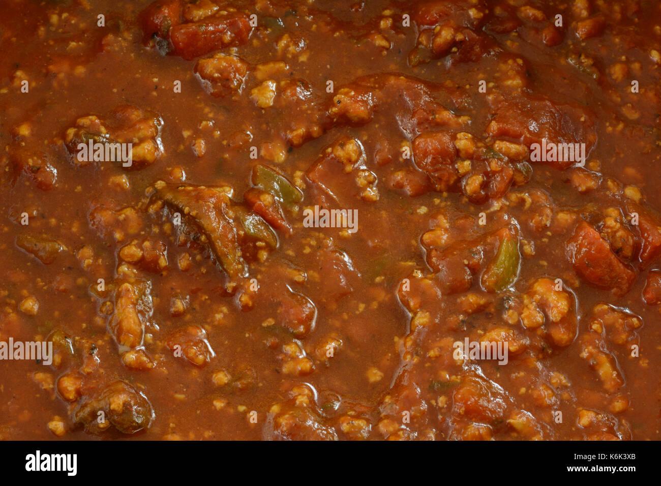 Close up of spaghetti sauce faite avec de la viande de dinde au sol pour abaisser le cholestérol Photo Stock