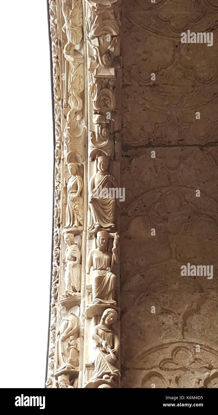 Chartres portail nord baie de gauche et vita activa contemplativa 2 Banque D'Images