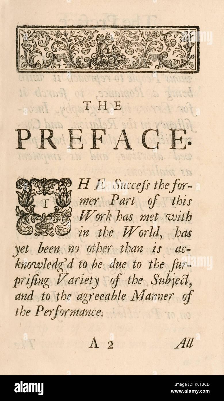 """Préface de """"le plus loin les aventures de Robinson Crusoé, étant la deuxième et dernière partie de sa vie, et de l'étrange étonnant Comptes de ses voyages autour des trois parties du monde"""" de Daniel Defoe (1660-1731) publié en 1719, la même année que son énorme succès préquel. Voir plus d'informations ci-dessous. Photo Stock"""