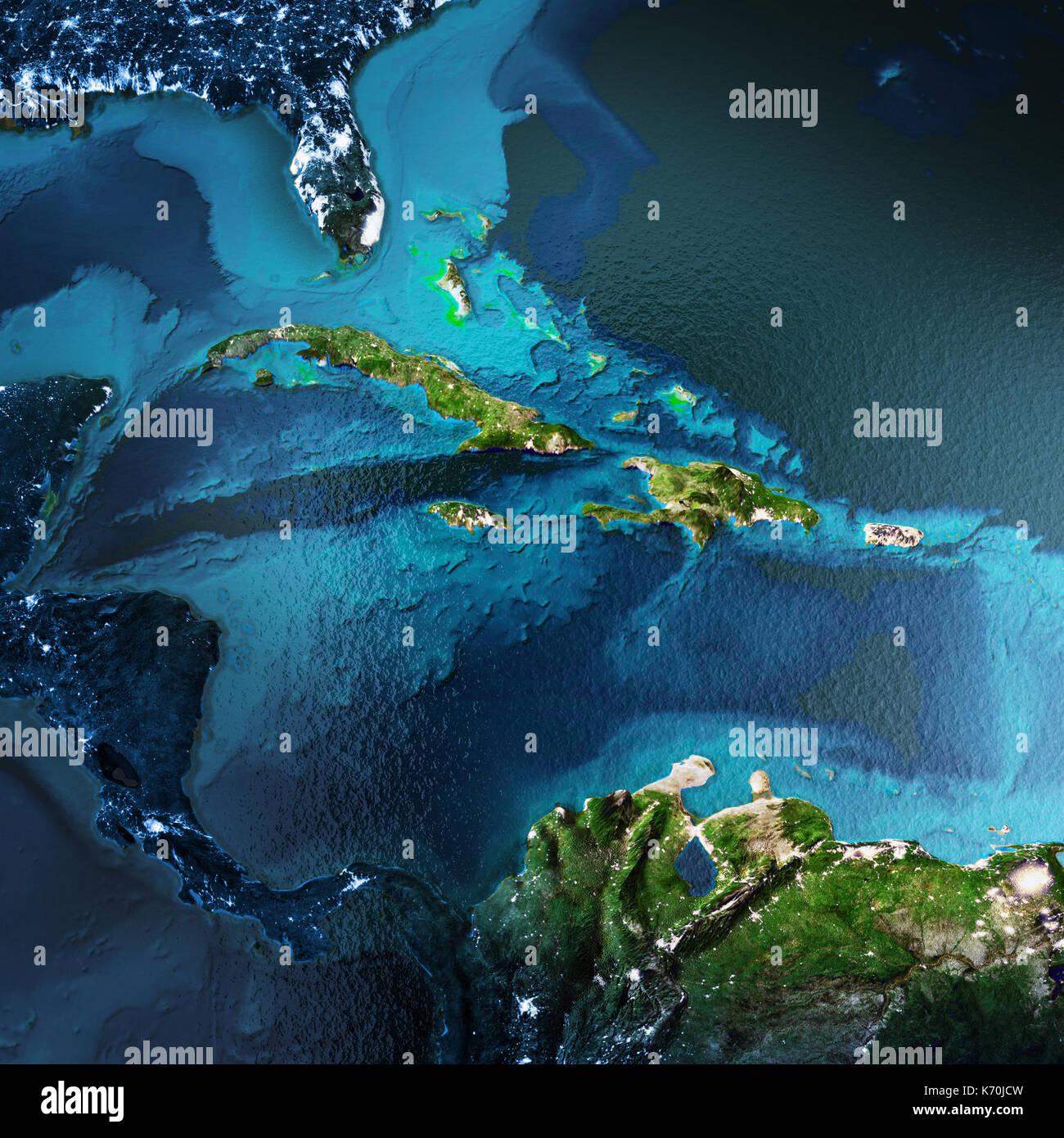 Région des Caraïbes le rendu 3D de l'espace Banque D'Images