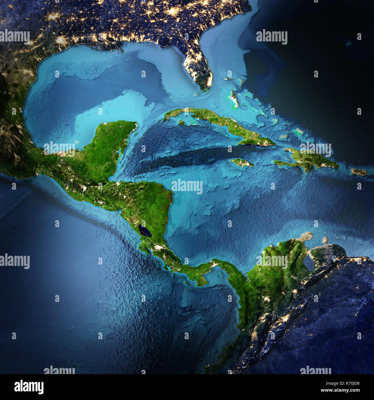 Amérique centrale le rendu 3D de l'espace Banque D'Images