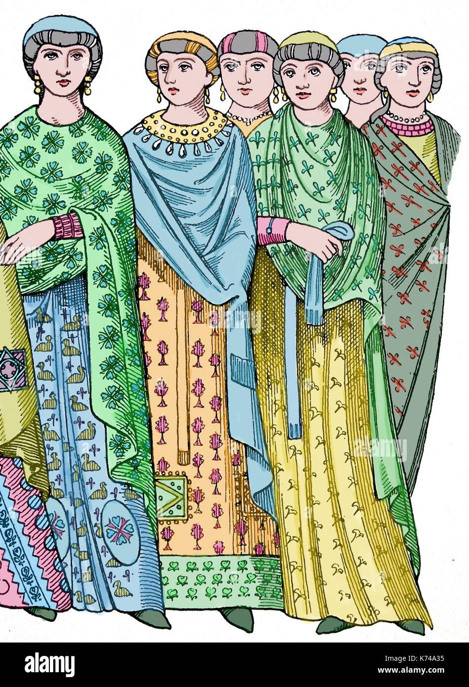 Entourage de l'impératrice Théodora, 6ème 100. empire byzantin. gravure d'une mosaïque de la basilique de st vitalie, Ravenne. L'Italie. Photo Stock