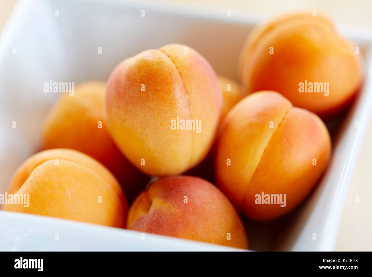 Abricots frais dans un plat blanc Photo Stock