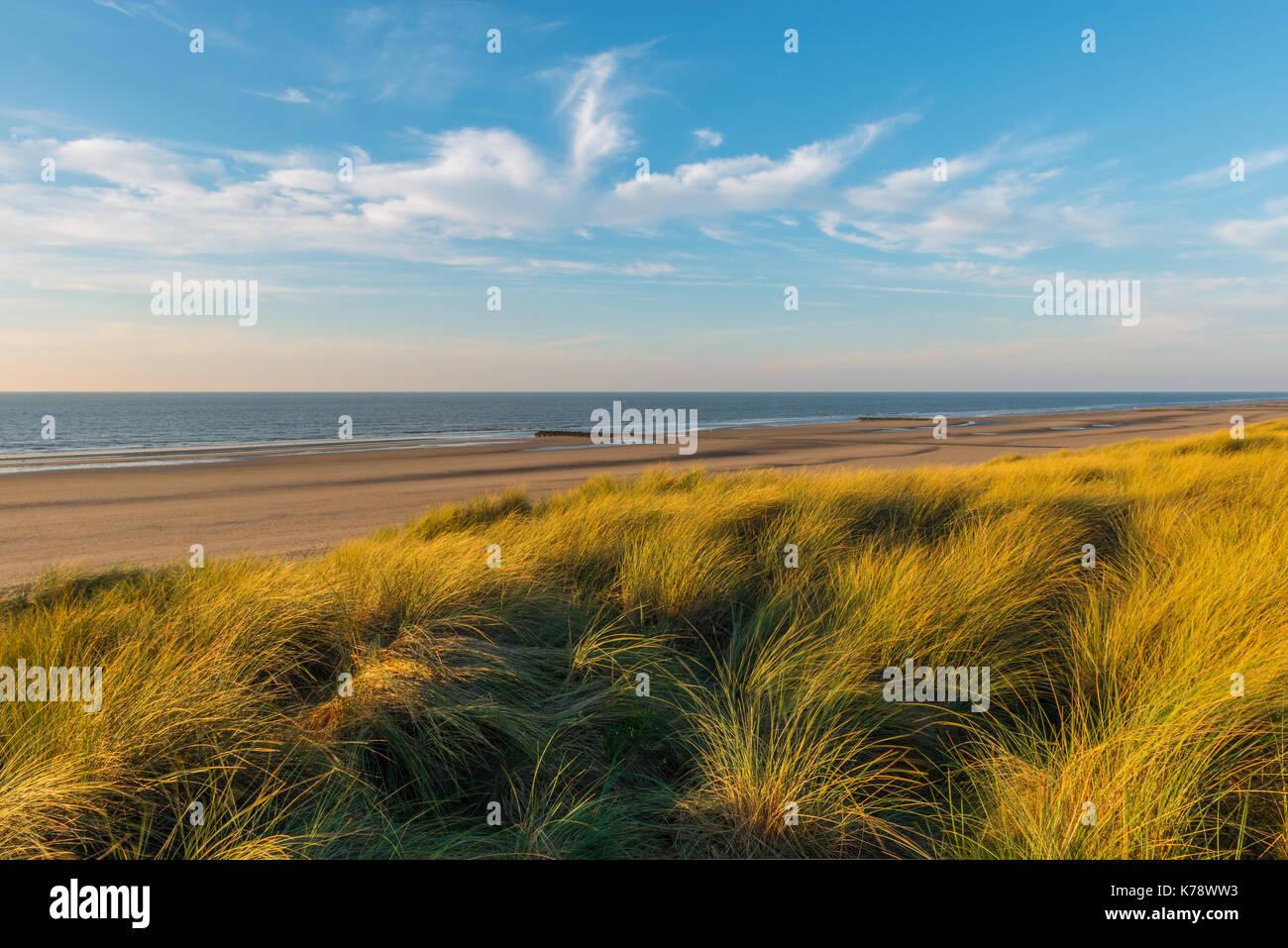 coucher du soleil dans les magnifiques dunes de sable d 39 ostende avec vue sur la mer du nord et. Black Bedroom Furniture Sets. Home Design Ideas