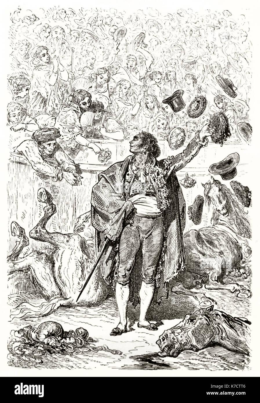 Vieille illustration de la tauromachie (Matador triomphe). Par Dore, publ. sur le Tour du Monde, Paris, 1862 Photo Stock