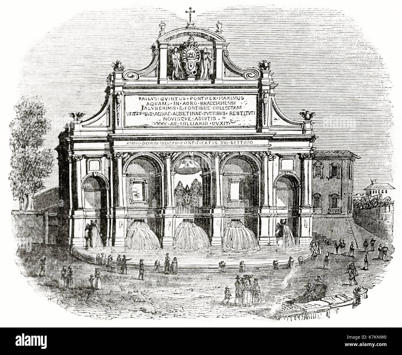 Vieille illustration de la Fontana dell'Acqua Paola, Rome. Par auteur non identifié, publ. sur le Penny Magazine, Londres, 1837 Banque D'Images