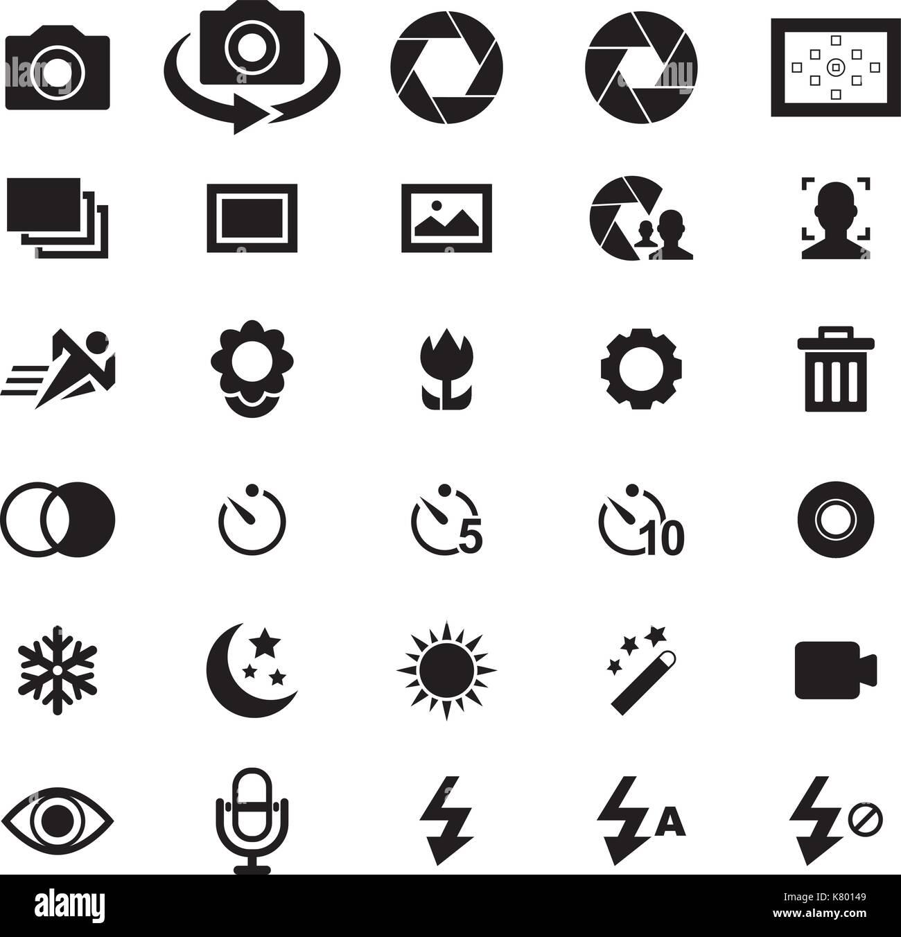 Camera icon set Illustration de Vecteur