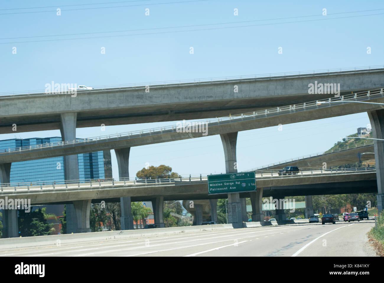 Les chemins et les routes autour de San Diego, Californie Photo Stock