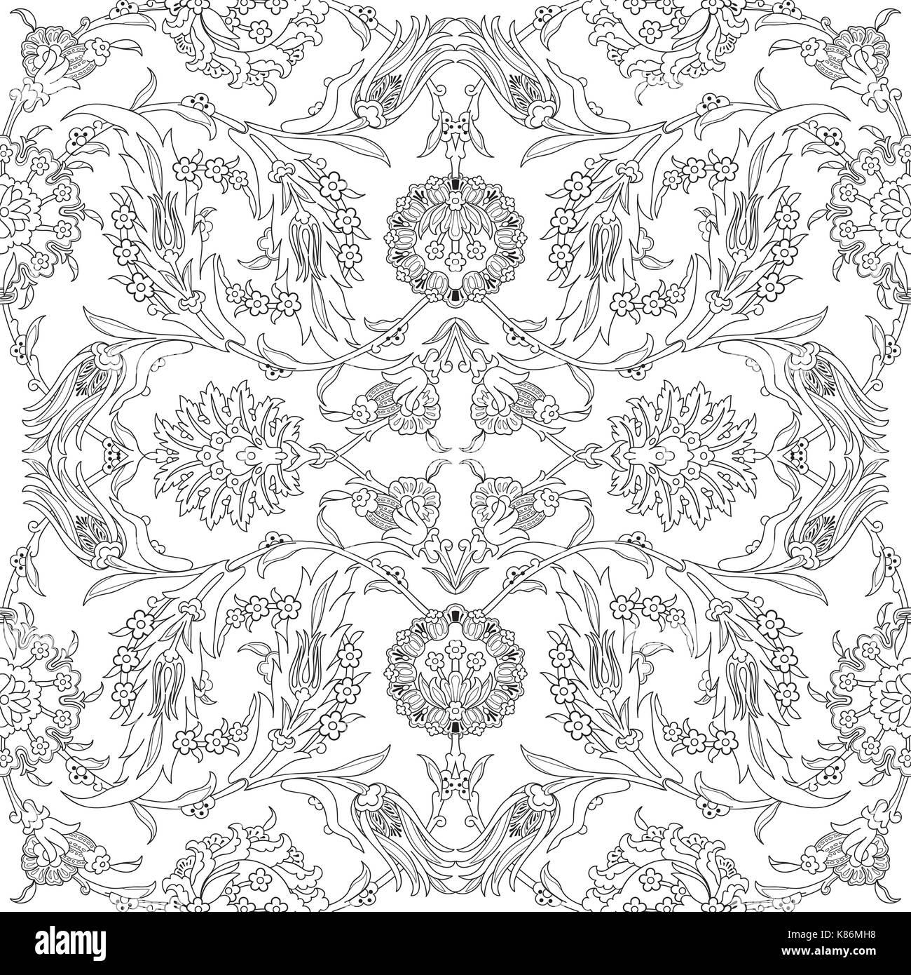 Arabesque Decoration Vintage Pour Des Motifs Floraux Vecteur Modele De Conception Motif Oriental Decoration Fleurs Contour Doodle Imprimer Illustra Ornementales Image Vectorielle Stock Alamy
