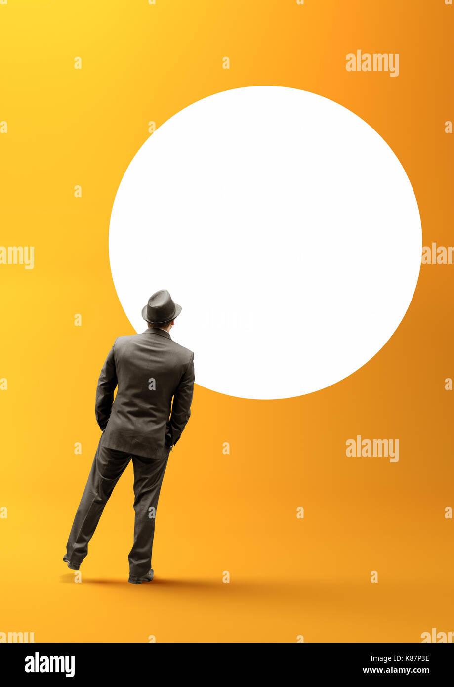 Un homme d'affaires intelligents yeux dans un cercle blanc. Photo Stock
