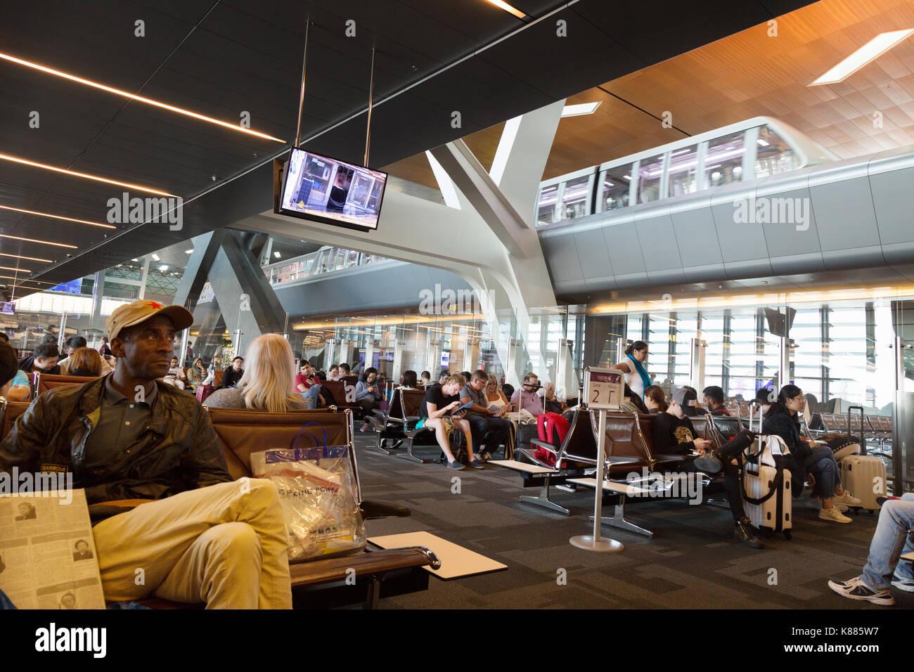 L'intérieur du terminal, l'aéroport international Hamad, Doha, Qatar, Moyen-Orient Banque D'Images