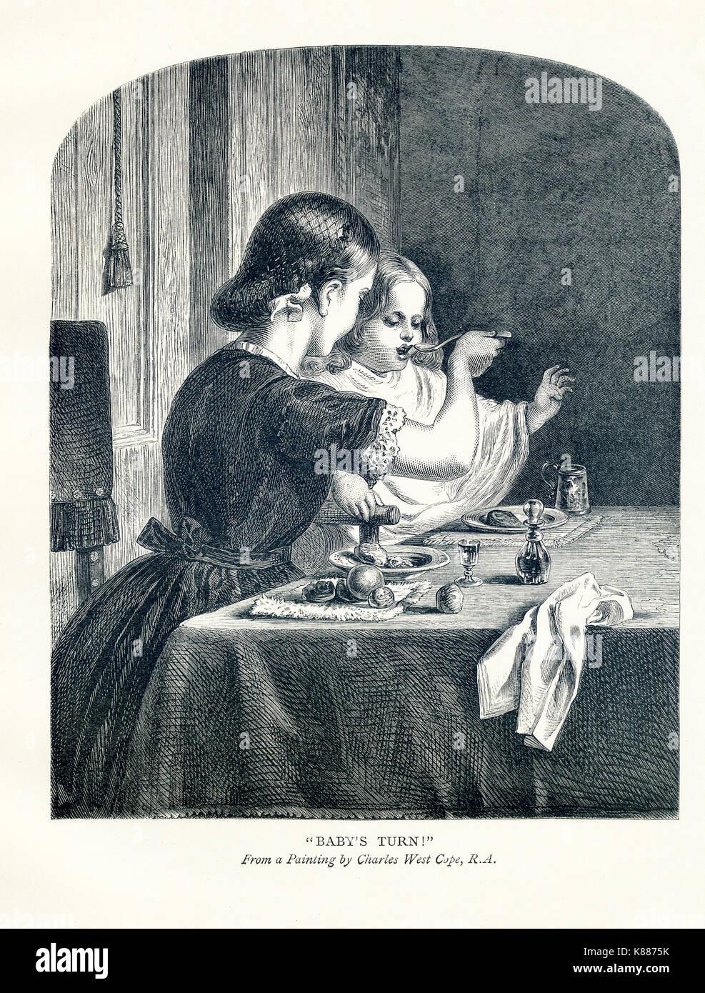 Cette gravure sur bois accompagnée d'un livre de 1881 sur les peintres britanniques. Le titre est 'tour du bébé, et c'est' par Charles west Cope (1811-1890), un des leaders français de l'époque victorienne peintre de scènes de genre et d'histoire. Photo Stock