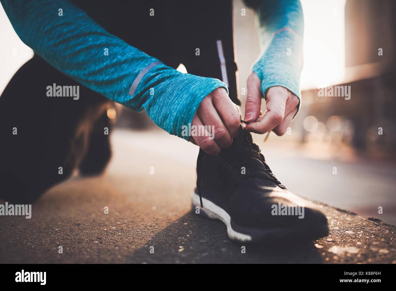 Le jogging et la course sont des reconstitutions de remise en forme Photo Stock