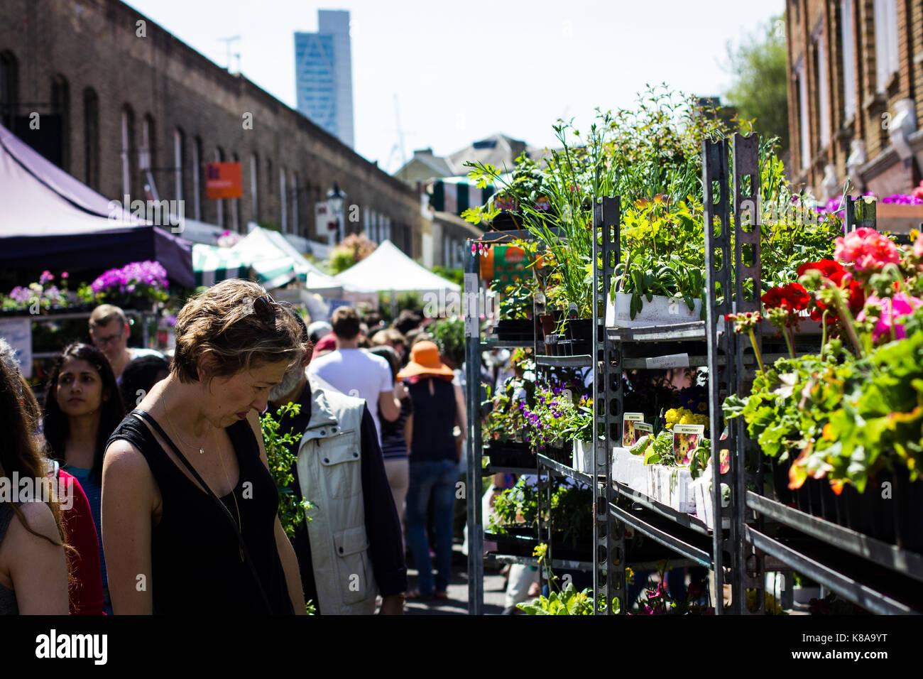Les touristes et les habitants se bousculent pour l'espace entre les plantes à Columbia Road Flower Market Photo Stock