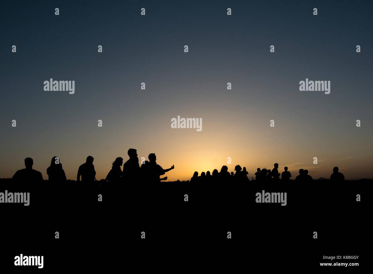 L'homme silhouettes , Göreme, Turquie Photo Stock