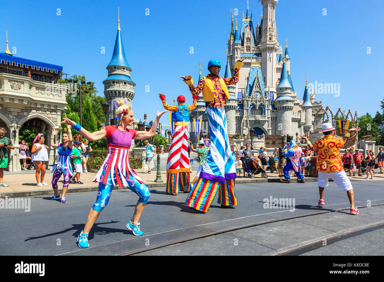 Animation de rue à Walt Disney's Magic Kingdom Theme Park, Orlando, Floride, USA Photo Stock