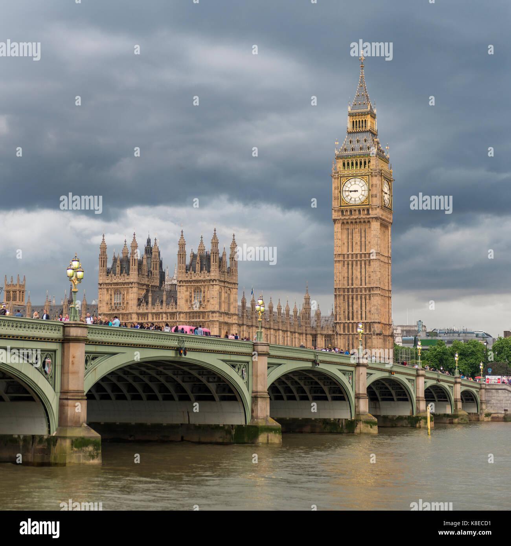Vue sur la Tamise, le pont de Westminster, Londres, Angleterre, Grande Bretagne, chambres du Parlement, Big Ben Photo Stock