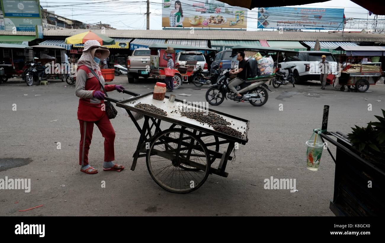Professions dame avec push cart à chhba ampeou phnom penh cambodiathird marché des pays du monde Photo Stock