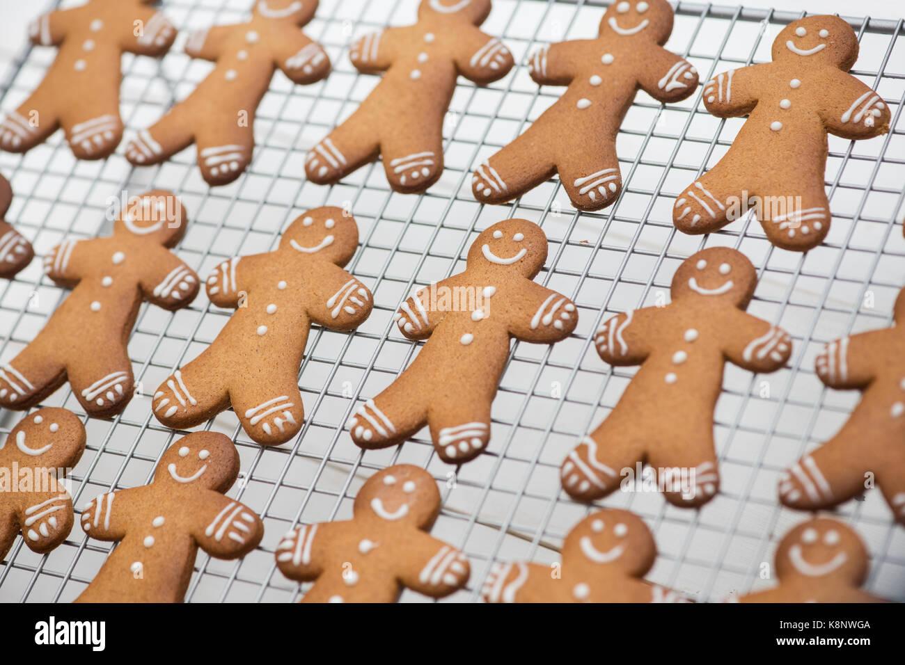 Les hommes d'épices Biscuits sur une grille de refroidissement Photo Stock