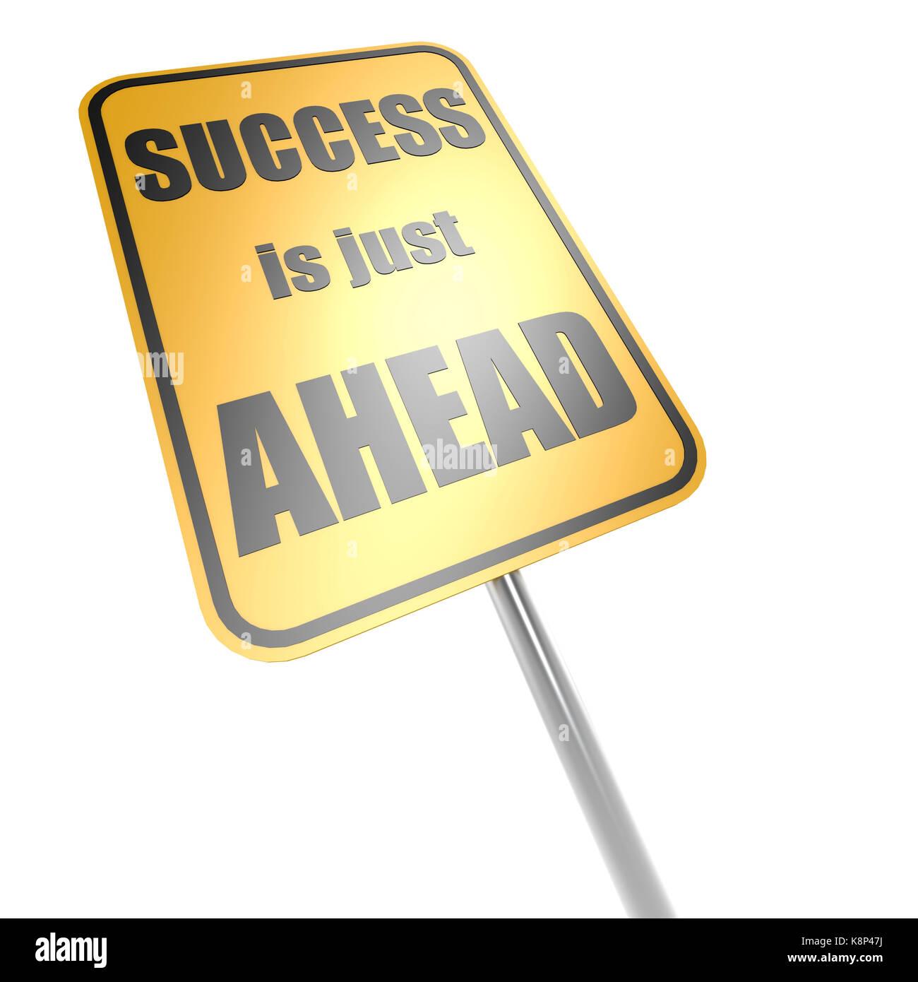 Le succès est juste devant road sign Banque D'Images