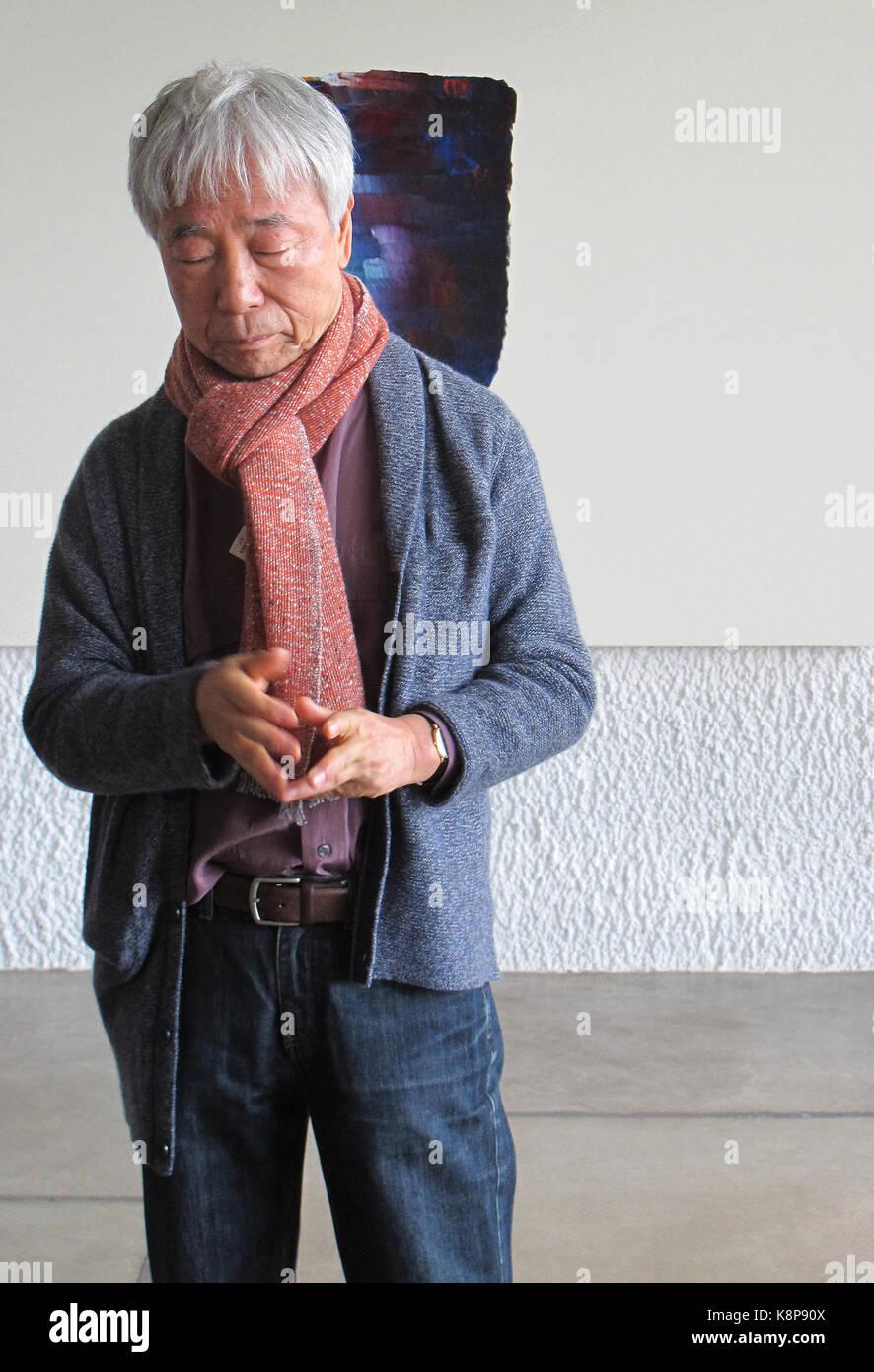 Lyon, France. Sep 19, 2017 artiste sud-coréen. lee ufan, représenté à la face d'une photo à l'hôtel Le corbusier Banque D'Images