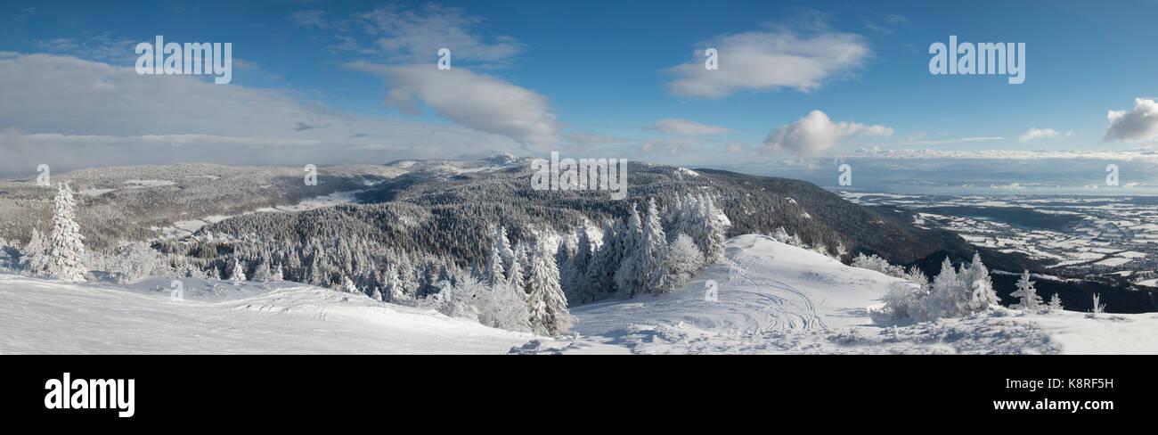 Skieurs de mont rond, jura, france Photo Stock