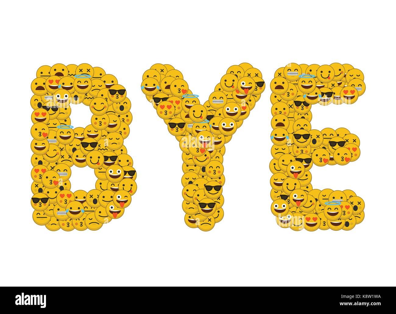 le mot bye crit en caract res emoji m dias sociaux smiley banque d 39 images photo stock. Black Bedroom Furniture Sets. Home Design Ideas