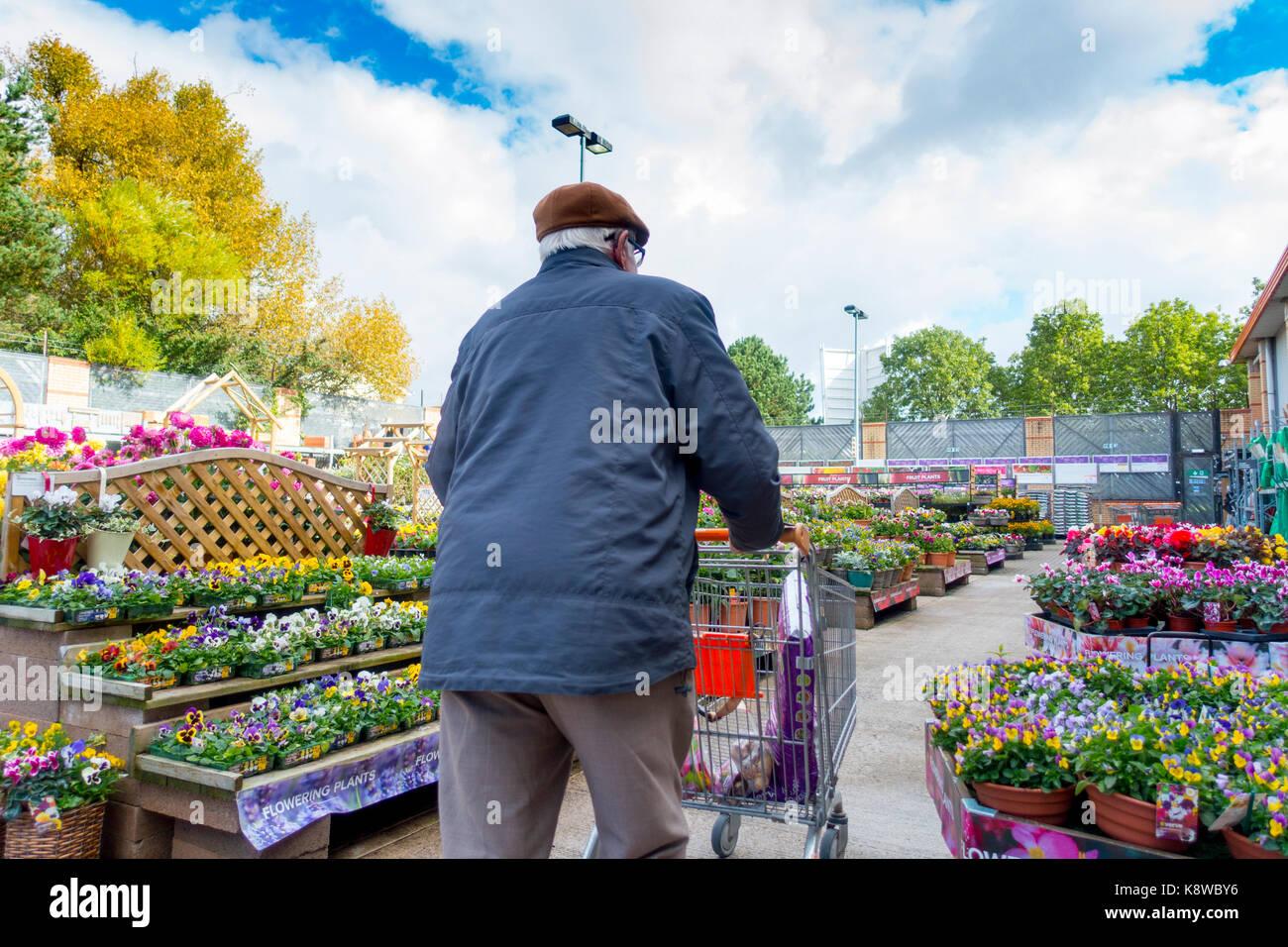 Personnes âgées male homme marchant avec un panier dans la section jardin en fleurs au magasin de bricolage Photo Stock