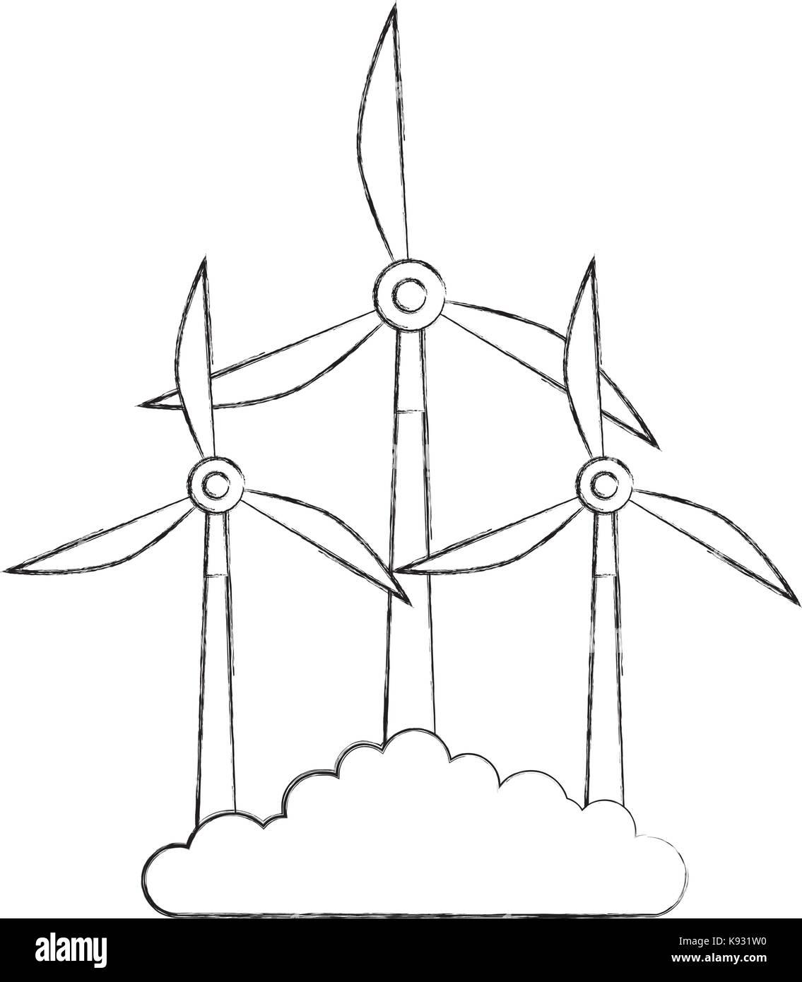 D'autres sources d'énergie renouvelables d'éoliennes Photo Stock