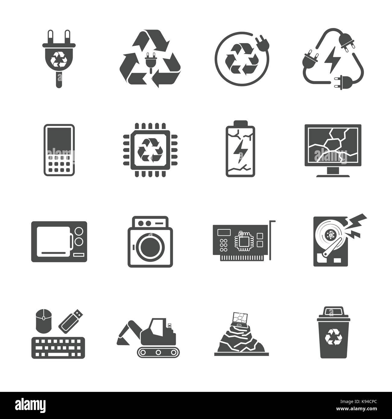 Le recyclage des déchets Les déchets électroniques, contient de tels que les déchets électroniques, Photo Stock
