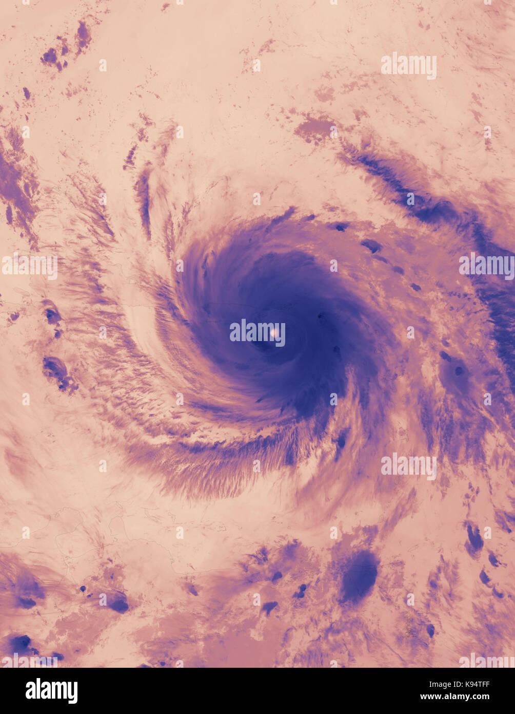La tempête tropicale maria. image thermique. éléments de cette image fournie par la NASA Photo Stock