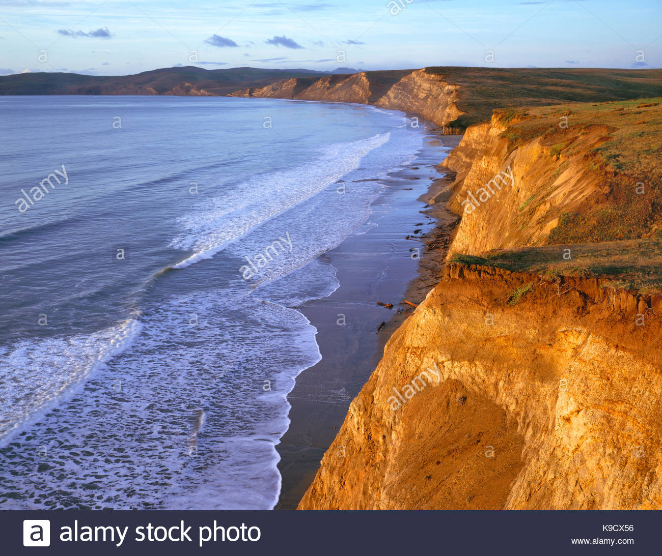 Cliffs at Drakes Plage, Point Reyes National Seashore, Californie Photo Stock
