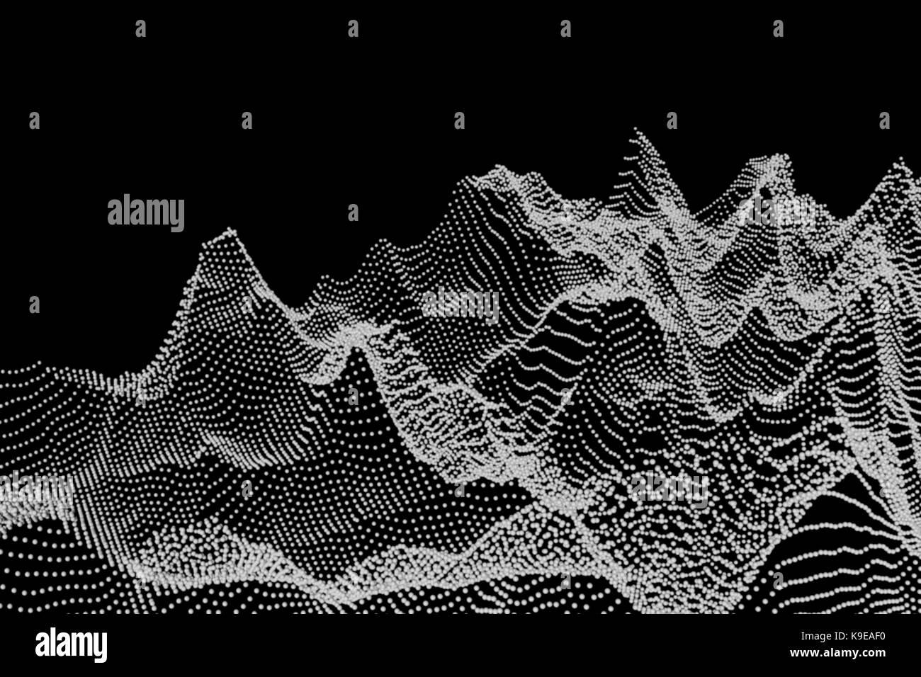 Paysage abstrait fait de points, ordinateur artwork. Photo Stock