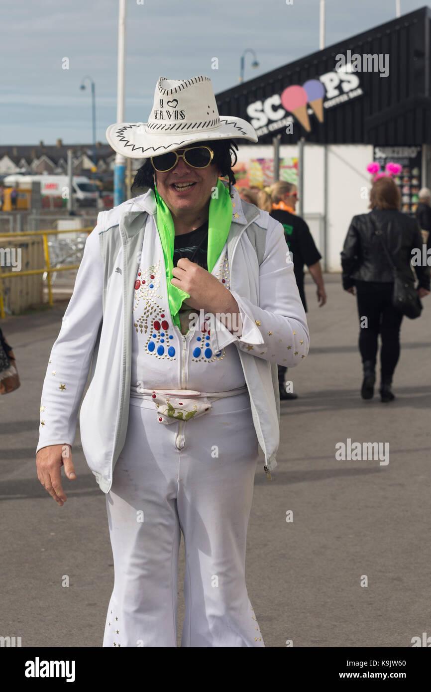 Carl Denning (aka Carl Elvis Presley) au Festival Elvis Presley de Porthcawl, Porthcawl, Pays de Galles. Photo Stock