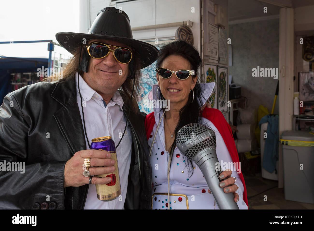Steve et Delyth Pritchards au Festival Elvis Presley Porthcawl Photo Stock