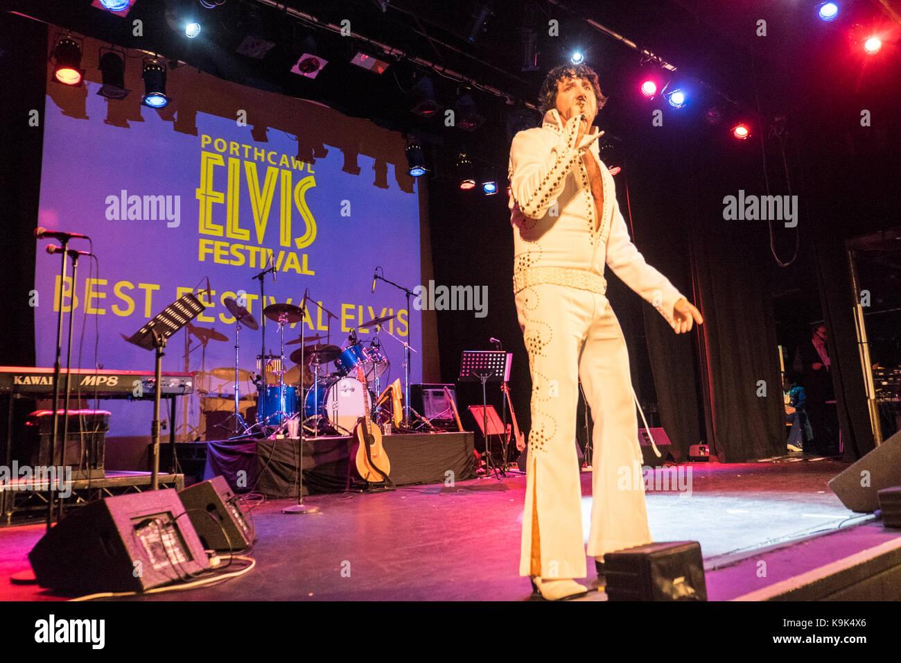 Au pavillon,Grand,Porthcawl, Pays de Galles, Royaume-Uni. 23 Septembre, 2017. Festival Elvis à Porthcawl, Sud, Photo Stock